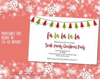 Printable Christmas party invitation / Holiday open house invitation / Holiday party invitation / Christmas tree invite / xmas office party