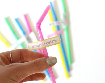 Decorated Drinking Straws, Summer Party, Birthday Party, Set of 12