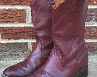 Vintage Wrangler wine red leather cowboy boots, mid-calf in great shape / mens' 8 / women's 9.5 or 10
