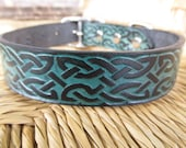 "Custom Listing for Jessica. 1"" Black and Purple Celtic Leather Dog Collar.  Embossed  Handmade Collar."