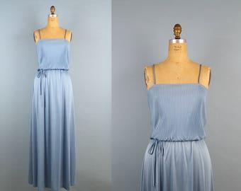 Vintage 70s Slouchy Draped Maxi Dress / Spaguetti Straps / Blue Maxi Dress / Boho / Bridemaids / Pleated / Size M