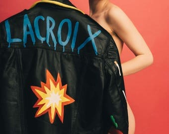 Lacroix/Sriracha/Spark emoji/ leopard print/Patsy Stone/Ab Fab/Graphics/cigarettes/ Hand Painted leather motorcycle perfecto unisex jacket