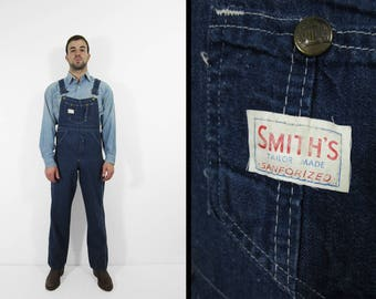 Vintage Smith's Denim Overalls 1970s Bibs Made in USA Workwear - Men's Small