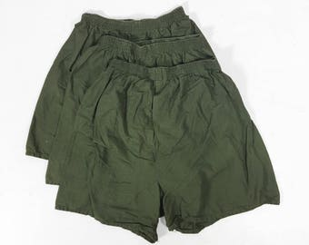 Lot of 3 Vintage US Army Boxers Green Cotton Drawers Vietnam War Era - Small