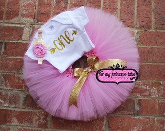Pink and Gold First Birthday outfit gold glitter onesie, pink and gold tutu, first birthday, pink and gold set, birthday tutu