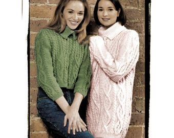 Instant Download PDF Knitting Pattern to make an Womens Girls Aran Crop Sweater & Thigh Length Oversize Tunic Dress 5 Sizes 30 to 48 Bust