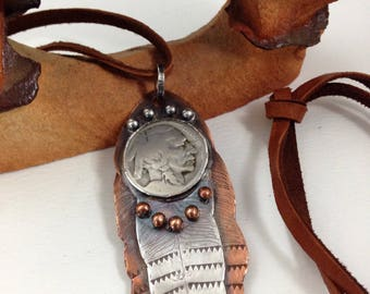Handmade Feather, One-of-a-kind, Southwest, Boho, Sterling Silver, Copper, Bison, Vintage Indian Head Nickel, Feather Pendant