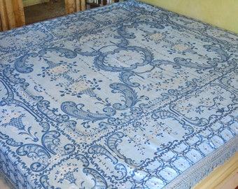 """Blue Gypsy Bedspread, Italian Rayon and Cotton, 97""""l. x 87""""w."""