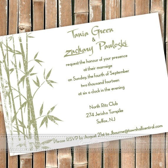 wedding invitations, Asian wedding invitations, sage and white wedding, bamboo party invitation, sage bamboo shower, sage green bride, IN603