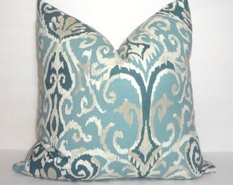 Blue Slate Ivory Ikat Magnolia Floral Pattern Pillow Cover Couch Cushion 18x18
