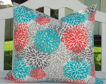 OVERSTOCK OUTDOOR Teal Orange Mum Blooms Flowers Floral Teal Jacks Double Sided Size 22x24