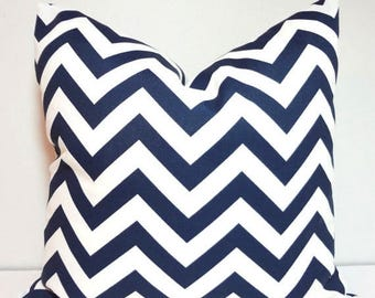 FALL is COMING SALE New Outdoor Pillow Navy Blue & White Chevron Zig Zag Outdoor Deck Porch 18x18