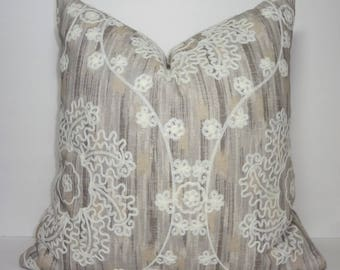 Elegant Embroidered Floral Medallion Taupe Ivory Design Home Decor by HomeLiving Pillow Cover Size 18x18