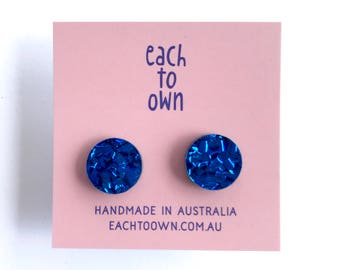15mm Round Stud - Laser Cut Acrylic Earring - Electric Blue - Each To Own Classic - Cobalt Blue Glitter
