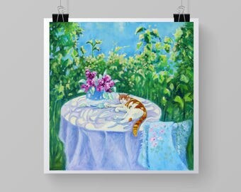 """Art Print of Impressionist Style Painting. """"Ginger Cat on the Table"""". 8"""" x 8""""  or 11"""" x 11""""."""