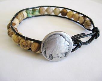Men's Leather Bracelet, Men's Turquoise Bracelet, Men's Picture Stone Bracelet, Turquoise and Picture Stone Bracelet,Boyfriend Bracelet