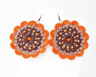 Hippie earrings Boho chic Flower jewelry Orange brown Handmade crochet earrings Gypsy beaded dangle Bold chunky Summer festival fashion