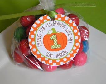 Pumpkin Favor Tags, Pumpkin Treat Tags, Pumpkin Party Tags, Pumpkin Gift Tags, Pumpkin Thank You Tags, Pumpkin First Birthday, Set of 12