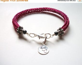 CLEARANCE SALE Viking Knit Bracelet -  Hot Pink & Black Hematite - Personalizeable