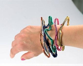 Bangle bracelet Modern bracelet Wire bracelet Pink bracelet Abstract Art jewelry Hippie Adjustable bangle Everyday jewelry Unique gift women