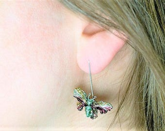Butterfly earrings stud, turquoise green earring, butterfly art jewelry, wire earring, boho jewelry, bridesmaid gift for her, summer earring