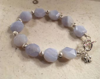 Blue Bracelet - Lace Agate Gemstone Jewelry - Sterling Silver Jewellery - Beaded - Chic - Butterfly Charm