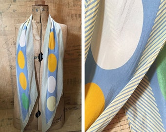 Liberty of London Silk Printed Scarf. Retro Lollipop in Pastel Blue, Yellow, Green, Pearl. A Striking Long Scarf