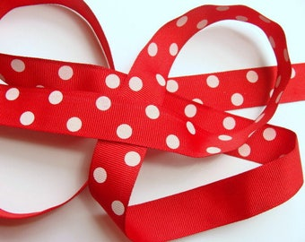 "CLEARANCE - 7/8"" Dotted Grosgrain Ribbon - Red with Ivory Dots Full Spool - 50 yards"