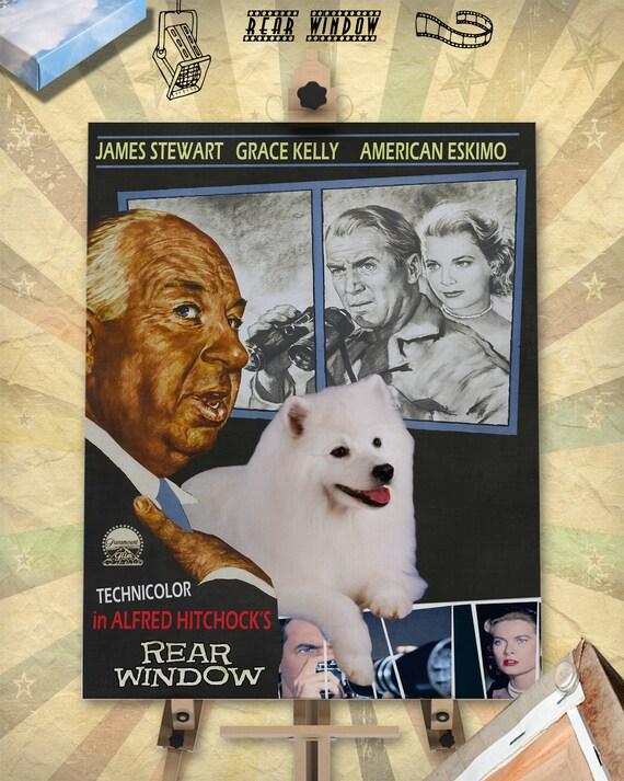American Eskimo Dog Art Gift Rear Window Movie Poster custom dog portrait from photo best selling home decor vintage wall art Eskie Dog