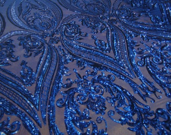 "Victorian Egg/Tulip, Royal Blue, Big Print, Sequin, 4-way Stretch, Fabric 55"" Sold By the Yard, Wedding, Prom, Dresses, Lingerie, Pageant"