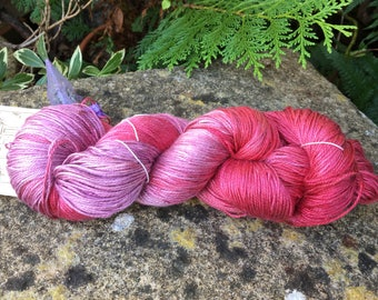 """Fingering weight weight silk/seacell  yarn """"painting the roses red"""""""