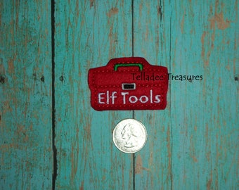 Elf Tools Tool Chest Feltie - Red small felt - Great for Hair Bows, reels, pins, headbands, planners or Crafts - Great for Elf Prop
