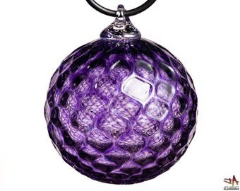 Hand Blown Glass Ornament - Transparent Hyacinth Purple with Diamond Pattern