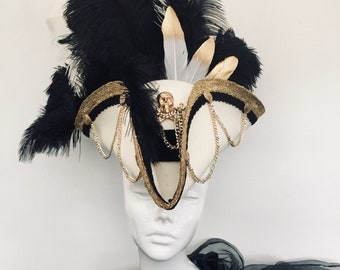 Steampunk cream and gold pirate hat tricorn