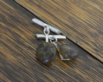 vintage brown glass cuff links