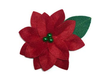 Large Red Poinsettia Dog Collar Flower Removable