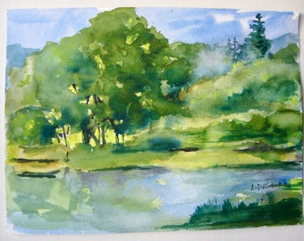 """Vermont Landscape Watercolor Painting  small painting Country Lakeside   12"""" x 9""""  Original Art Carlie DeGaetano"""