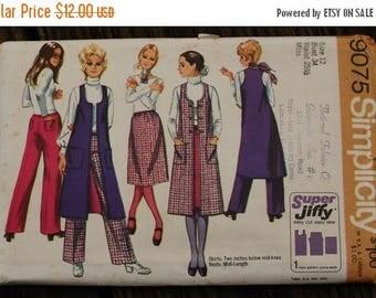 25%off Sizzlin Summer Sal Simplicity 9075 1970s 70s Midi Vest Hip Hugger Pants Skirt Boho Bohemian Hippie Vintage Sewing Pattern Size 12 Bus