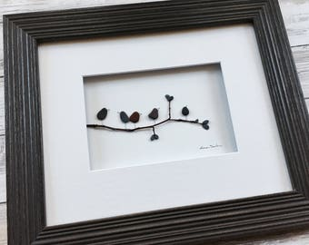 Pebble Art birds on a branch 8 by 10 PebbleArt by Sharon Nowlan choice of framed or unframed