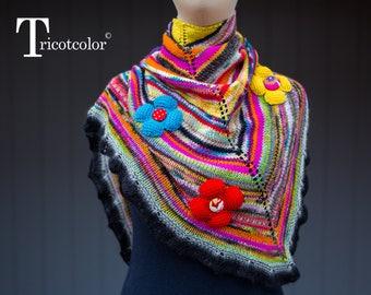 Châle femme tricotcolor laine wool multicolore tricot crochet fleurs foulard saint valentin knit accessories boutons perles cadeau pour elle