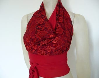 Red Lace with black Wrap Cowl Halter Top amazing Polka Tango Halter Cowl Neck Top fits  US 0 to 6  Dancewear Evening Top