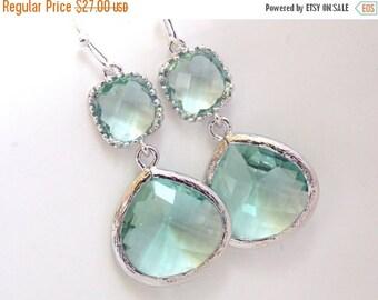 SALE Aqua Earrings, Soft Green Earrings, Light Green Earrings, Silver Earrings, Wedding, Bridesmaid Earrings, Bridal Jewelry, Bridesmaid Gif