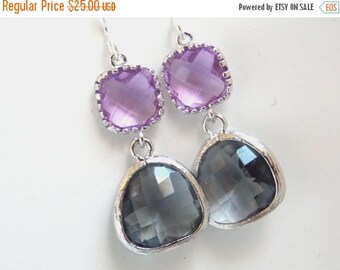 SALE Gray Earrings, Lavender Earrings, Glass Earrings, Lilac, Violet, Purple, Grey, Silver, Bridesmaid Earrings, Bridal Jewelry, Bridesmaid
