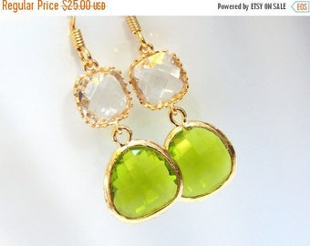SALE Glass Earrings, Green Earrings, Gold Apple Green, Clear, Crystal, Wedding, Bridesmaid Earrings, Bridal Earrings Jewelry, Bridesmaid Gif