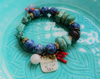 1 Turquoise azure blue  coral charm stretch bracelet Rustic sea quote #wirewrapped  beach  gemstones fwp boho starfish fish