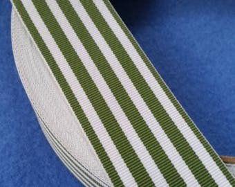Olive Green and White Striped Grosgrain Ribbon, 2 yards of vintage grosgrain, vintage ribbon