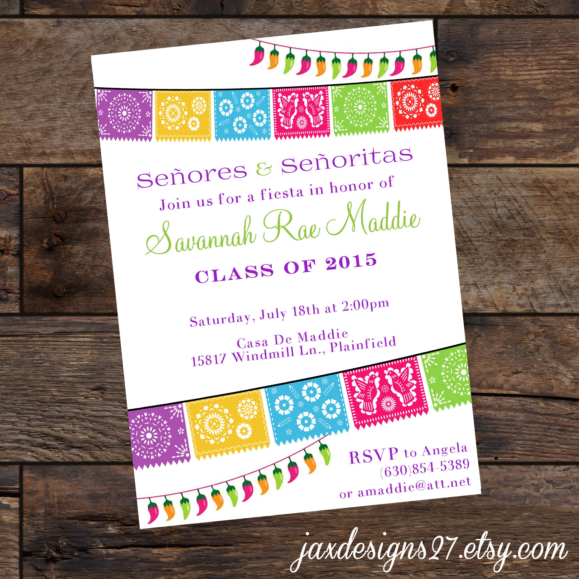 Digital Fiesta Party Invitations - Graduation Invitations - Birthday ...