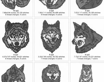 8X8 REALISTIC WOLVES Machine Embroidery Designs zip file pes,vp3,jef,hus,dst format.