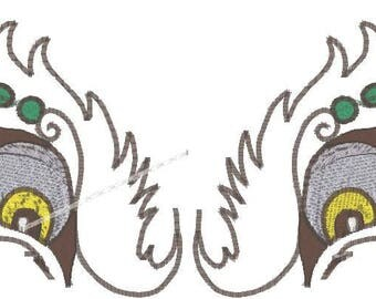 6X3 Dragon Eyes Machine Embroidery Designs. Zip files in pes, jef, vp3 and dst formats.