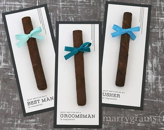 Groomsman Card, Cigar Card Will You Be My Groomsman, Your Service Is Requested as Best Man Ring Bearer Officiant Ask Groomsmen Modern Single